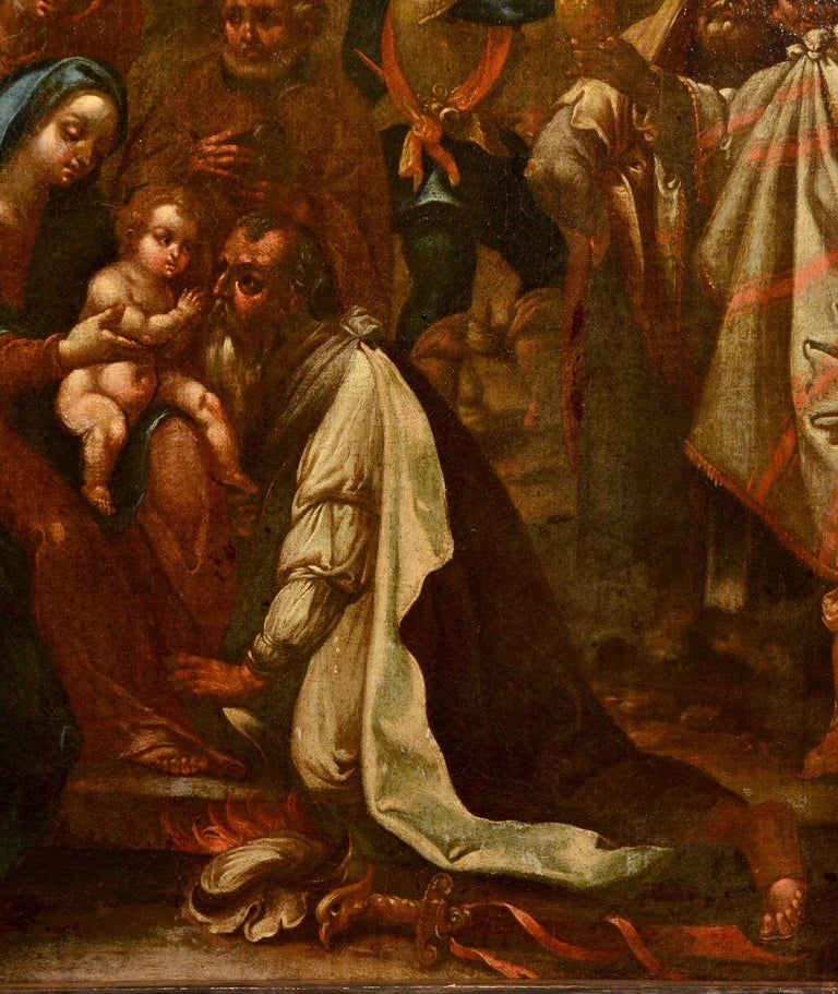 Flemish Adoration 16/17th Century Spain Religious Oil on paint Rubens Holy Art For Sale 5