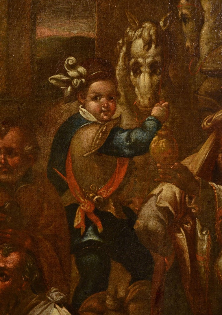 Flemish Adoration 16/17th Century Spain Religious Oil on paint Rubens Holy Art For Sale 6