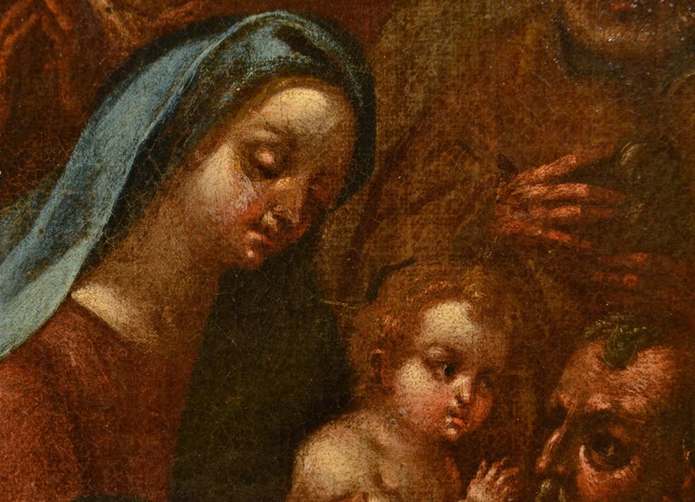 Flemish Adoration 16/17th Century Spain Religious Oil on paint Rubens Holy Art For Sale 12
