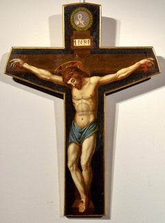 Paint Oil on table 15th Century Christ Crucified Santi Di Tito Old master Art