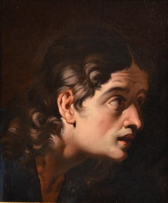 Head Of Character Caravaggesque 17th Century Paint Oil on canvas Old master