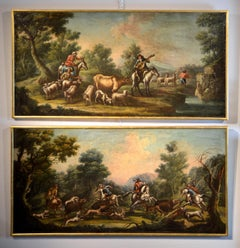 Landscape Baroque 18th Century Oil on canvas Paint Shepherds Italy Cignaroli