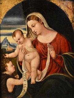 Polidoro Paint Oil on table 16th Century Old master Raffaello Madonna Leonardo