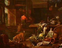 Valentino Kitchen Interior Still Life Paint Old master 17th Century Italy Art