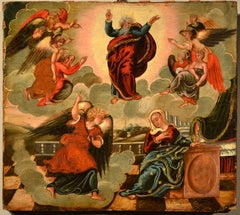 Venetian Old master Paint Tempera on table Italy 16/17th Century Annunciation