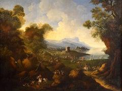 Coastal Landscape Horses Paint 17th Century Oil on canvas Forest Old master Art