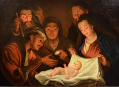 Flemish 17th Century Holy Family Adoration Paint Old master Oil on canvas Art