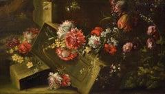 Pieter Casteels III 'Signed' Floral Still Life Old master Paint 18th Century Art