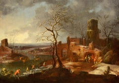 Winter Landscape 17th Century Flemish Oil on canvas Old master Paint Brueghel