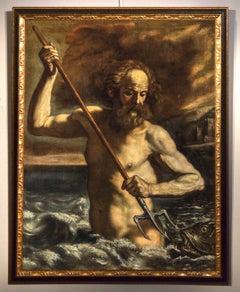 Guercino' God Poseidon Neptune Paint Oil on canvas Old master 17th Century Italy