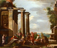 Ghisolfi Paint Oil on canvas Old master 17th Century Architectural Capriccio Art