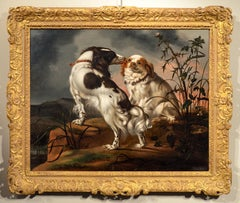 Beeldemaker Cavalier Kings Garden Dog Paint Oil on wood 17th century Old master