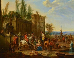 Van Falens Landscape Paint Oil on canvas Old master 18th Century Horses Italy