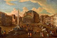 Vetturali Landscape Rome Pantheon Paint OIl on canvas Old master 18th Century