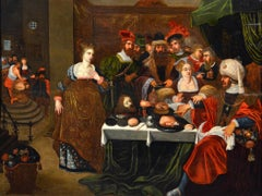 Banquet Attrib to Van Den Hoecke Religious Oil on Table Old Master 17th Century