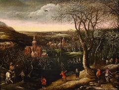 Winter Landscape Van Alsloot Paint Oil on canvas Old master 17th Century Flemish