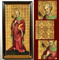 St.peter Oil on table Gold 15th Century Old master Germany Gothic Religious Art