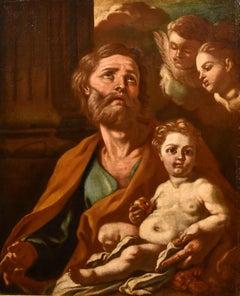 Saint Joseph Child De Mura Paint Oil on canvas Old master 18th Century Religious