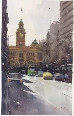 Railway Station - Joseph Zbukvic Landscape Watercolor Painting