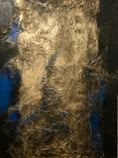 Seeking the Truth - Roshanak Khalilian Abstract Contemporary Painting with Gold