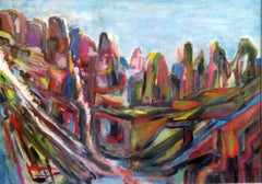 Abstracted Mountains, Mexico De Saint Exupery Abstract mid 20th C Modernist Oil