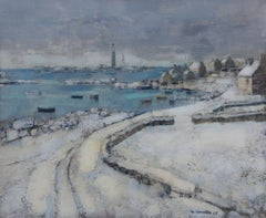 Winter in Brittany, France, Seaside snow, French Post Impressionist ex Petrides