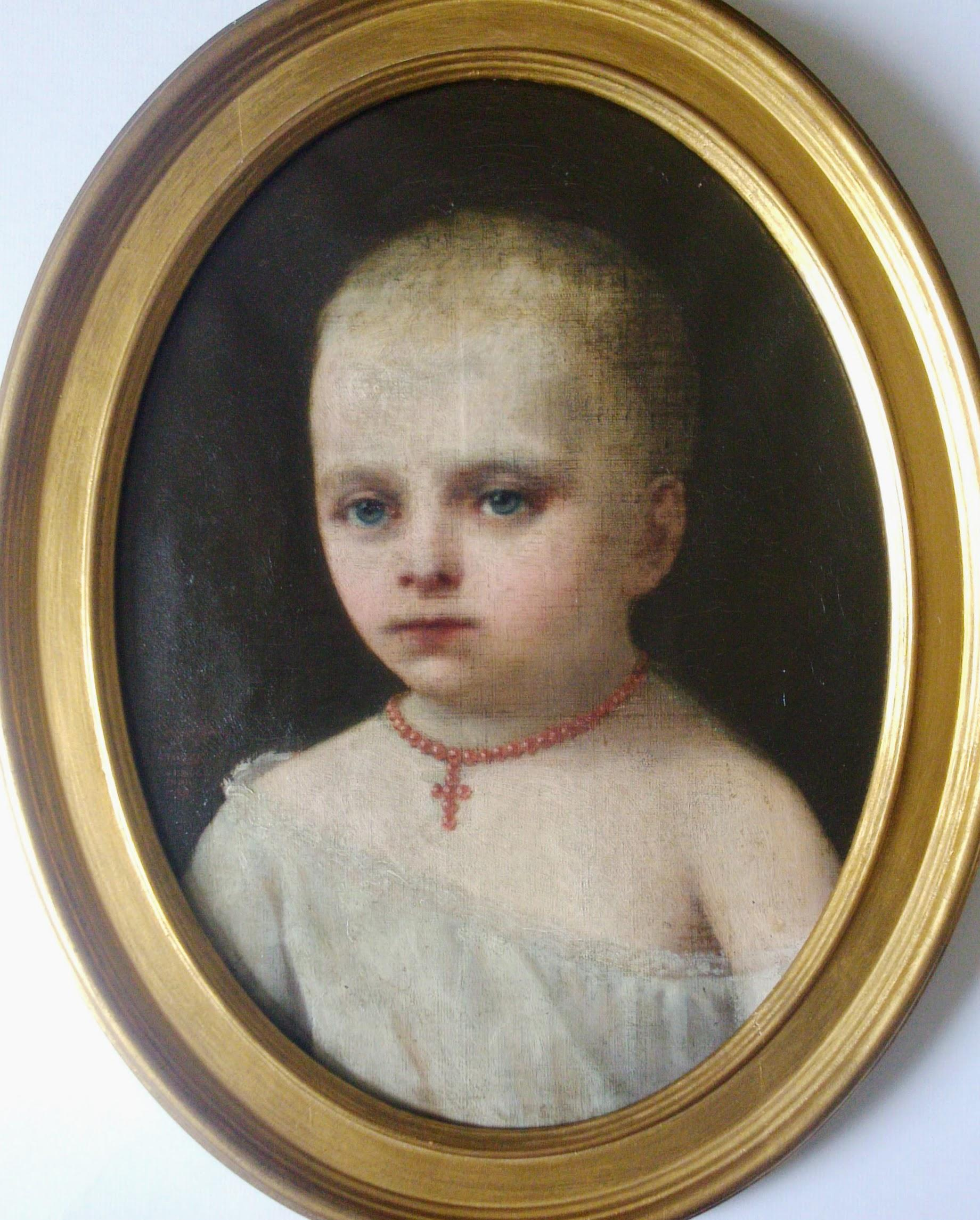 Young child 19th century baby portrait by French portraitist of Brazilian royals