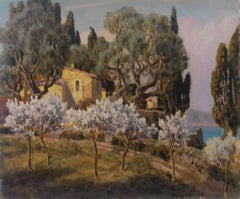 The South of France, French Riviera Near Menton, Provence Art Deco landscape