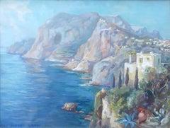 Capri Italy Mediterranean Italian Island landscape painting German Swiss Usadel