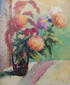 Pointillist Floral Sill Life Flower painting by Italian American artist in Paris