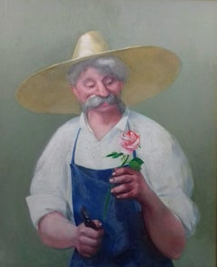 The happy Gardener and his Rose: horticultural garden interest French portrait