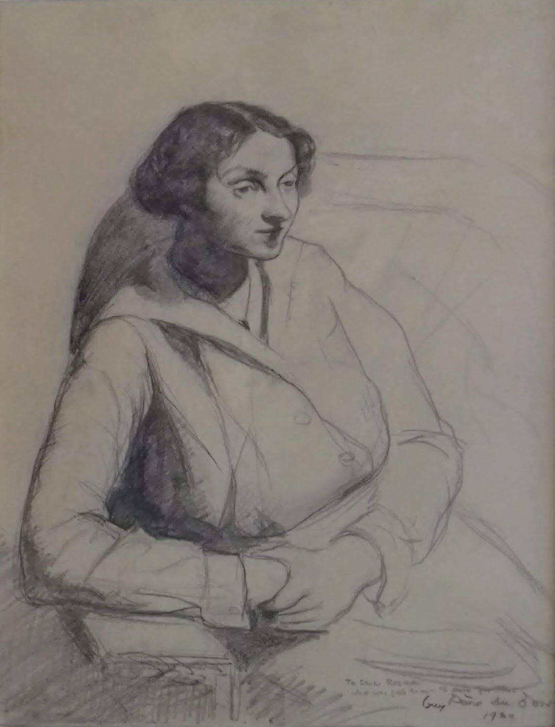 The thoughtful girl on the sofa, WPA American Modernism Realism 1920 drawing