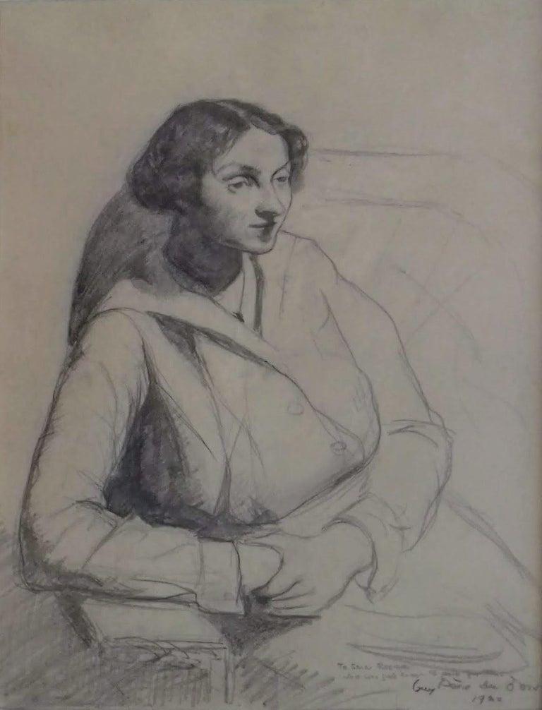 Guy Pène Du Bois Portrait - The thoughtful girl on the sofa, WPA American Modernism Realism 1920 drawing
