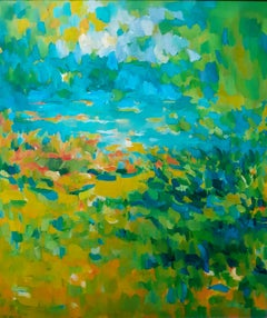 Huge colorful semi abstract mid century landscape large American oil painting