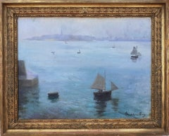 Student of Claude Monet woman artist impressionist seascape marine oil painting