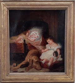 Family scene, children dog and pup, French painting by Delacroix' prodigy friend