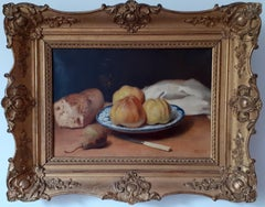 Rustic Apples and Bread Food Still Life French Salon Academic Antique Painting