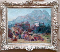 Evening Prayer in The Polish Mountains by woman artist large jewel coloured oil