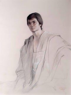 Young man, Morocco, toga gown elegant male portrait Latin American hyperrealist