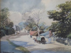 Village Scene, Cornwall England - 19th Century, Impressionist Landscape Drawing
