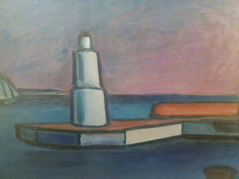 Scandinavian Modernist: Lighthouse at Helsingor. Exhibited at Venice Biennale  - Expressionist Painting by william lonnberg