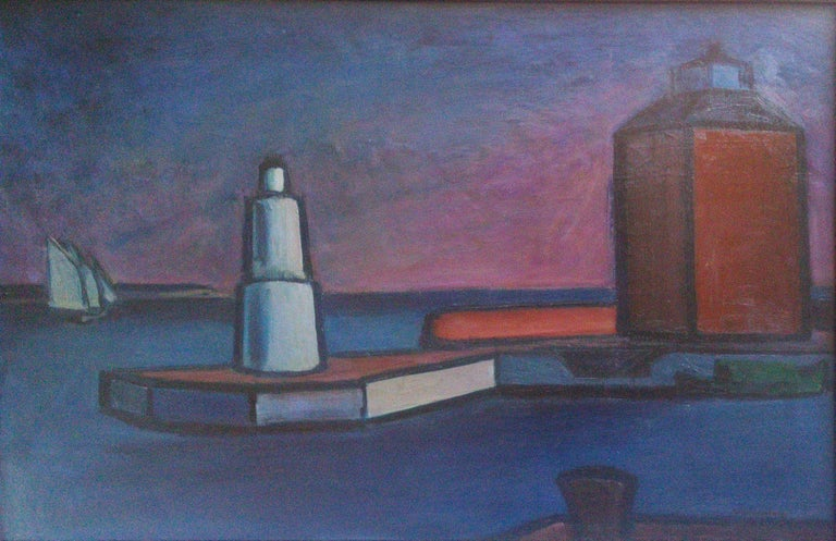 william lonnberg Landscape Painting - Scandinavian Modernist: Lighthouse at Helsingor. Exhibited at Venice Biennale