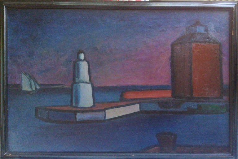 Scandinavian Modernist: Lighthouse at Helsingor. Exhibited at Venice Biennale  - Painting by william lonnberg