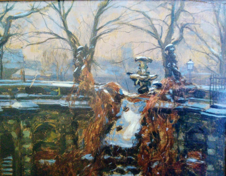 Snow In The Park, Dresden Palace, German 19th Century Impressionist  - Gray Landscape Painting by Edmund Korner