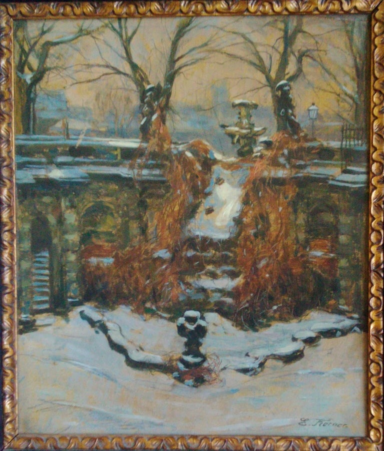 Snow In The Park, Dresden Palace, German 19th Century Impressionist  For Sale 2