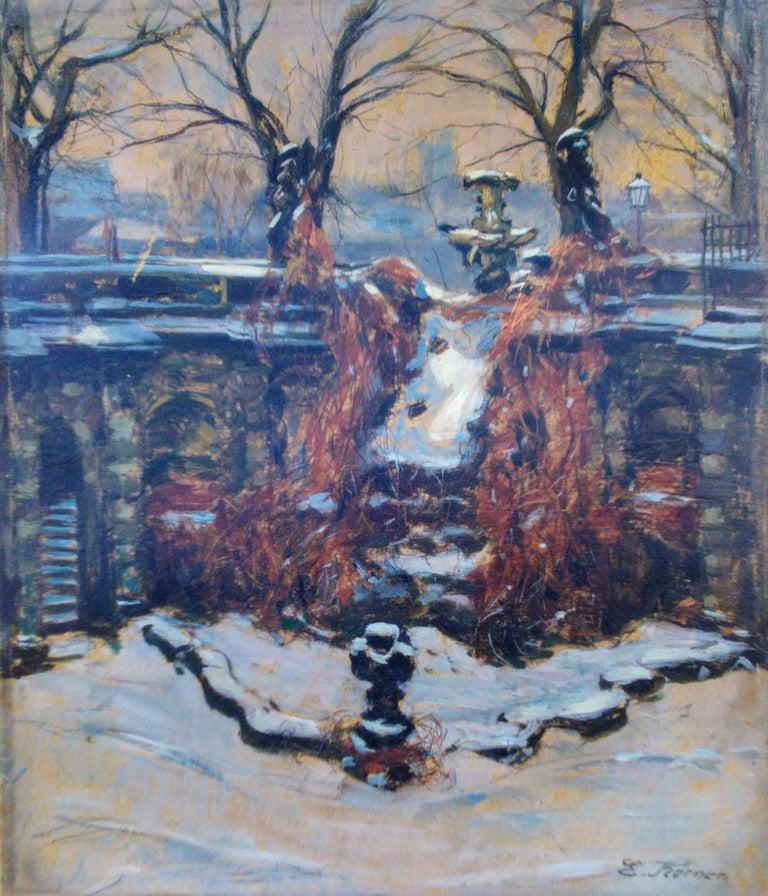 Edmund Korner Landscape Painting - Snow In The Park, Dresden Palace, German 19th Century Impressionist