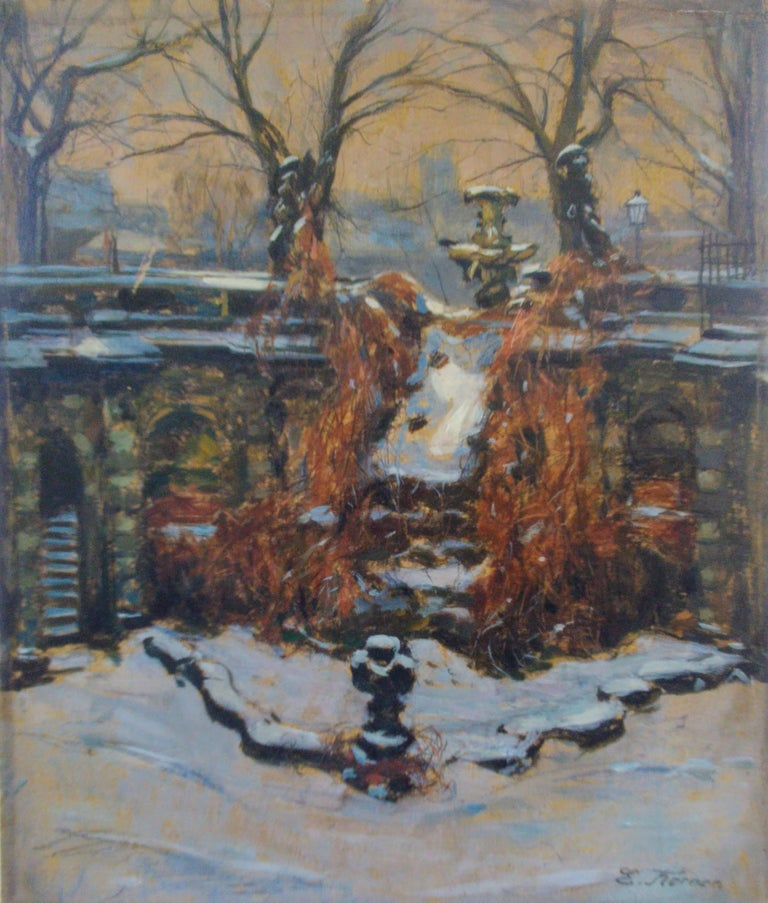 Snow In The Park, Dresden Palace, German 19th Century Impressionist  For Sale 3