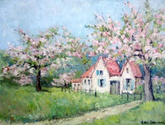 Apple Blossoms Trees in Bloom, antique French Normandy rustic farmhouse oil