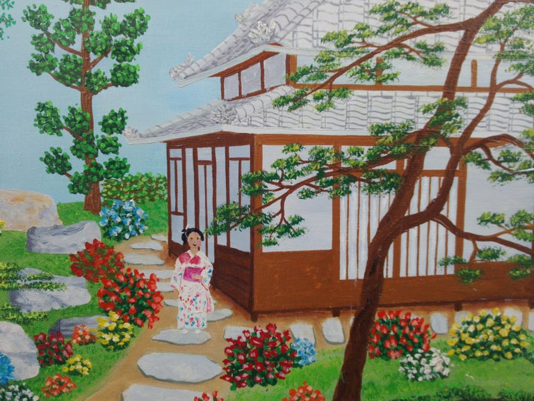 Japan Japanese Garden by French naive outsider folk art primitive artist, 1975 - Gray Landscape Painting by Maurice Loirand