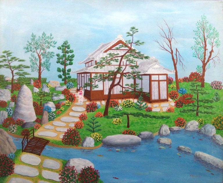 Maurice Loirand Landscape Painting - Japan Japanese Garden by French naive outsider folk art primitive artist, 1975